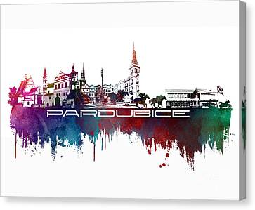 Pardubice Skyline City Blue Canvas Print by Justyna JBJart