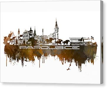 Pardubice Skyline City Brown Canvas Print by Justyna JBJart