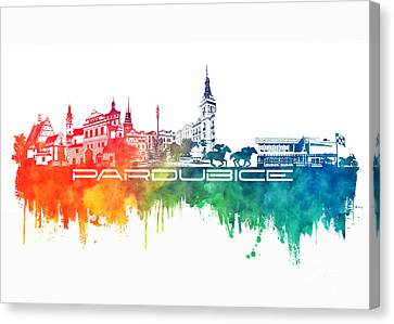 Pardubice Skyline City Color Canvas Print by Justyna JBJart