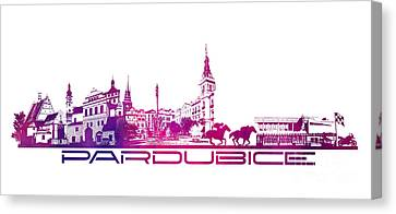 Pardubice Skyline City Purple Canvas Print by Justyna JBJart