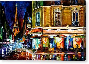 Paris - Recruitement Cafe Canvas Print by Leonid Afremov