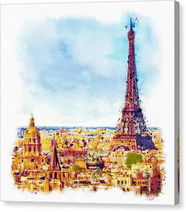 Europe Digital Art Canvas Print - Paris Aerial View by Marian Voicu