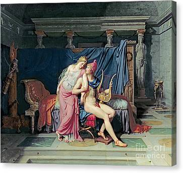 Paris And Helen Canvas Print by Jacques Louis David