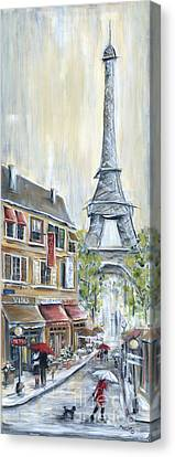 Red Dress Canvas Print - Poodle In Paris by Marilyn Dunlap