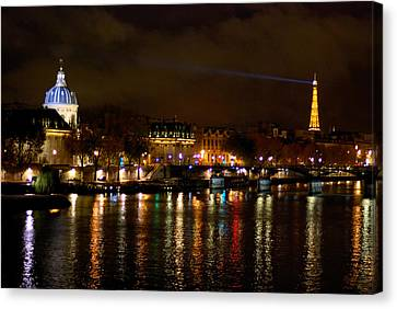 Canvas Print featuring the photograph Paris At Night by Steven Richman