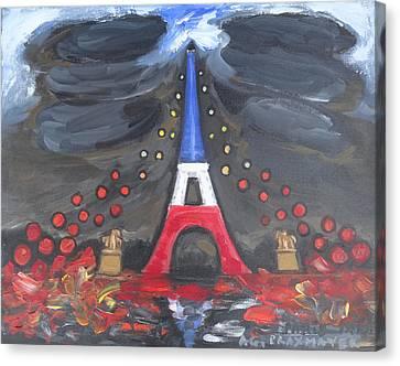 Paris Attacks Tribute 1 - Hope Canvas Print by Agnieszka Praxmayer