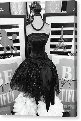 Canvas Print featuring the photograph Paris Ballerina Costume Black And White French Decor - Parisian Ballet Art Black And White Art Deco by Kathy Fornal