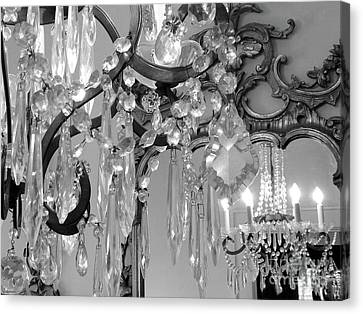 Canvas Print featuring the photograph Paris Black And White Crystal Chandelier Mirrored Wall Decor -parisian Black White Chandelier Prints by Kathy Fornal