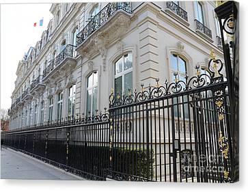 Canvas Print featuring the photograph Paris Black Iron Ornate Gate To Parc Monceau - Parisian Gates  by Kathy Fornal