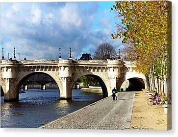 Paris Bridge 0523 Canvas Print by PhotohogDesigns