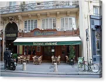 Canvas Print featuring the photograph Paris Cafe Bistro - Galerie Vivienne - Paris Cafes Bistro Restaurant-paris Cafe Galerie Vivienne by Kathy Fornal