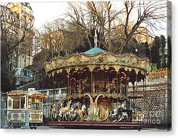 Paris Carousel At Montmartre - Sacre Coeur Cathedral Carousel Merry Go Round  Canvas Print by Kathy Fornal