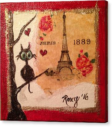 Paris Cat  Canvas Print by Roxy Rich