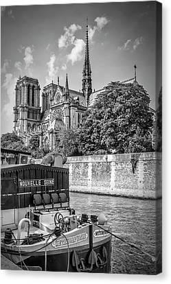 Paris Cathedral Notre-dame - Monochrome Canvas Print