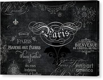 Canvas Print featuring the painting Paris Chalkboard Typography 1 by Audrey Jeanne Roberts