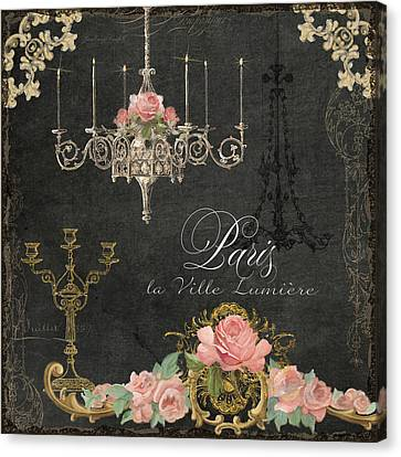 Paris - City Of Light Chandelier Candelabra Chalk Roses Canvas Print by Audrey Jeanne Roberts