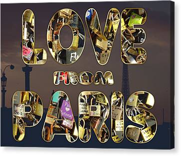Canvas Print featuring the painting Paris City Of Love And Lovelocks by Georgeta Blanaru
