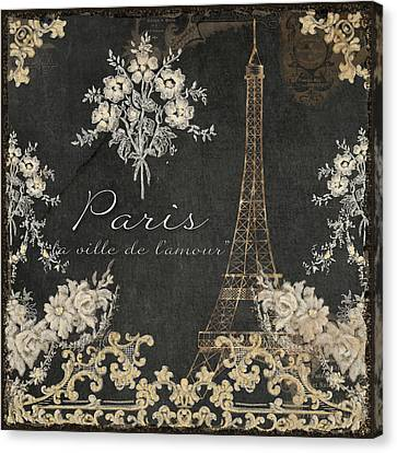 Paris - City Of Love Eiffel Tower Chalk Canvas Print by Audrey Jeanne Roberts