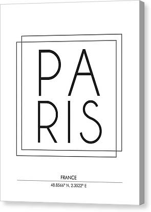 Paris City Print With Coordinates Canvas Print