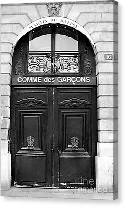 Paris Doors - Black And White French Door - Paris Black And White Doors Decor Canvas Print by Kathy Fornal