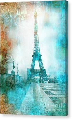 Paris Eiffel Tower Aqua Impressionistic Abstract Canvas Print by Kathy Fornal