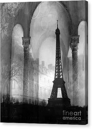 Paris Eiffel Tower Architecture Black And White Fine Art Photography Canvas Print by Kathy Fornal