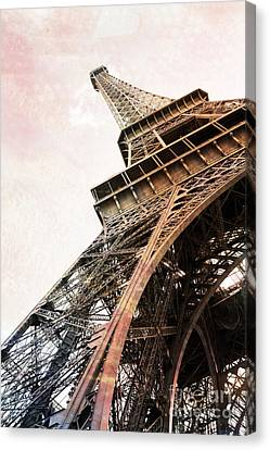 Paris Eiffel Tower Painterly Sepia Abstract - Eiffel Tower Sepia Vintage Art Decor And Prints Canvas Print by Kathy Fornal