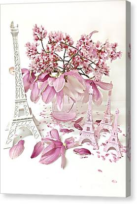Paris Eiffel Tower Spring Magnolia Flower Blossoms - Paris Pink White Spring Blossoms  Canvas Print by Kathy Fornal