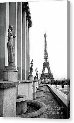 Trocadero Canvas Print - Paris Eiffel Tower Trocadero Gilded Statues Black And White Print - Paris Eiffel Tower Home Decor  by Kathy Fornal