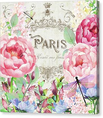 Paris Flower Market I Roses, Flowers, Floral Dragonflies Canvas Print by Tina Lavoie