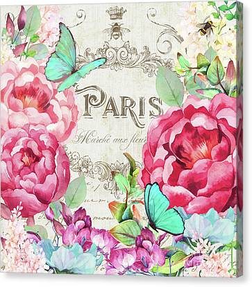 Paris Flower Market II Roses, Flowers, Floral Butterflies Canvas Print by Tina Lavoie