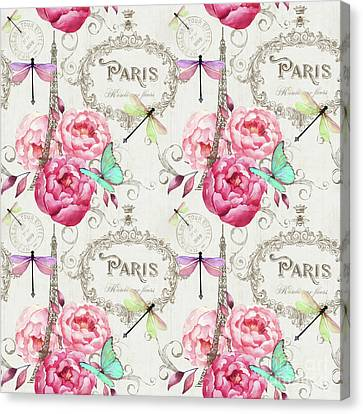Paris Flower Market Repeating Pattern Canvas Print by Tina Lavoie