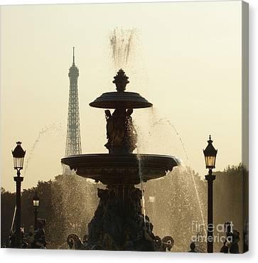 Paris Fountain In Sepia Canvas Print
