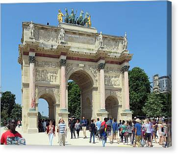 Paris France Small Triumphal Arch At The Louvre 2 Canvas Print by Richard Singleton