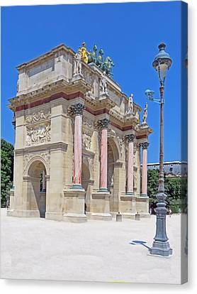 Paris France Small Triumphal Arch At The Louvre Canvas Print by Richard Singleton