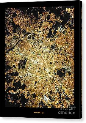 Canvas Print featuring the photograph Paris From Space by Delphimages Photo Creations