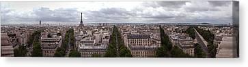 Paris From The Arch De Triumph Canvas Print by Robert Ponzoni