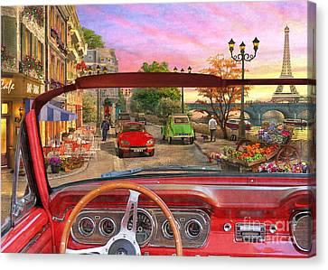 Paris In A Car Canvas Print by Dominic Davison