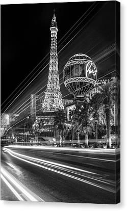 Las Vegas Canvas Print - Paris In Las Vegas Strip Light Show Bw by Susan Candelario