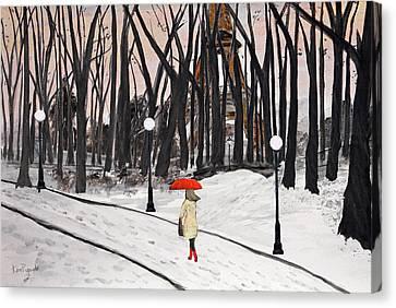 Paris In The Park Canvas Print by Ken Figurski