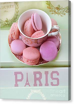 Paris Laduree Macarons - Pink Paris Macarons - Shabby Chic Laduree Paris Macarons Decor Canvas Print by Kathy Fornal