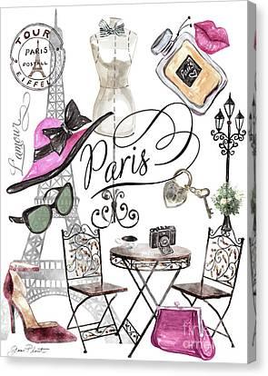 Lamp Post Canvas Print - Paris Lamour by Jean Plout