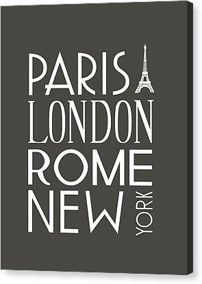 Paris, London, Rome And New York Pillow Canvas Print by Jaime Friedman