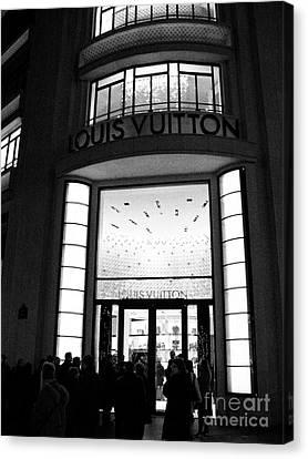 Paris Louis Vuitton Boutique - Louis Vuitton Paris Black And White Art Deco Canvas Print by Kathy Fornal