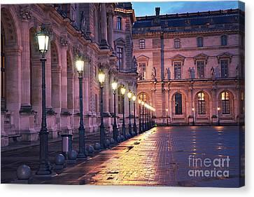 Rainy Night Canvas Print - Paris Louvre Museum Street Lanterns Night Landscape - Louvre Museum Architecture Rainy Night Lights  by Kathy Fornal
