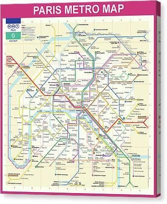 Paris Metro Map  Canvas Print