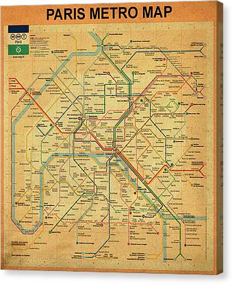 Paris Metro Map In Sepia Canvas Print