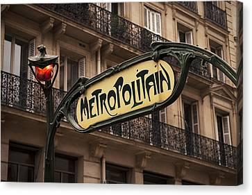 Paris Metro Sign Canvas Print by Andrew Soundarajan