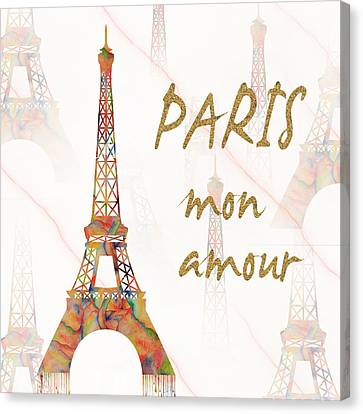 Canvas Print featuring the painting Paris Mon Amour Mixed Media by Georgeta Blanaru