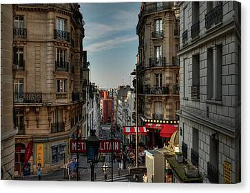 Canvas Print featuring the photograph Paris - Montmartre Streetscape 004 by Lance Vaughn